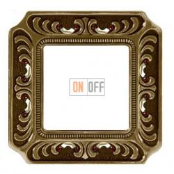 Рамка одинарная Fede Palace, светлая бронза с кристаллами FD01351PBCL