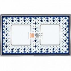 Рамка Vintage Porcelain 2 поста (Blue Lys - блестящий хром) FD01342AZCB