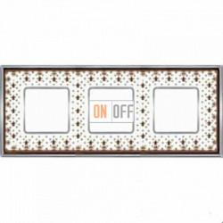 Рамка Vintage Porcelain 3 поста (Brown Lys - блестящий хром) FD01343MACB