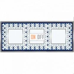 Рамка Vintage Porcelain 3 поста (Blue Lys - блестящий хром) FD01343AZCB