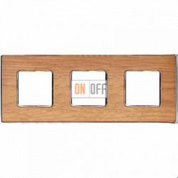 Рамка Vintage Wood 3 поста (дуб - блестящий хром) FD01313OCB