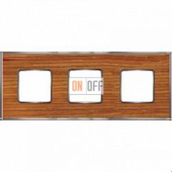 Рамка Vintage Wood 3 поста (вишня - блестящий хром) FD01313CCB