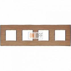 Рамка Vintage Wood 4 поста (дуб - блестящий хром) FD01314OCB