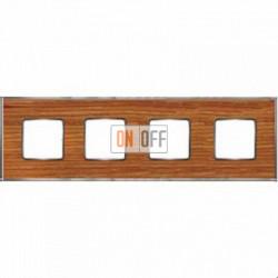Рамка Vintage Wood 4 поста (вишня - блестящий хром) FD01314CCB