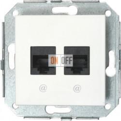 Телефонная розетка, 6 конт + компьютерная розетка RJ45,8 конт.6 кат., белый 37708052