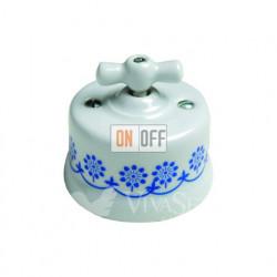Выключатель поворотный перекрестный (c 3 мест) 10А 250В~  Fontini Garby, белый фарфор/синий декор 30304112
