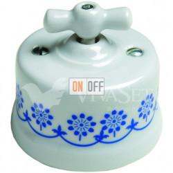 Выключатель поворотный 10А 250В~ Fontini Garby, белый фарфор/синий декор 30306112