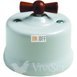 Выключатель поворотный для жалюзи 10А 250В~, Fontini Garby белый фарфор/ручка дерево мед 30342182