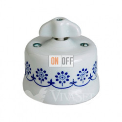 Переключатель поворотный (с 2-х мест) 10А 250В~ Fontini Garby, белый фарфор/синий декор/ретро ручка 30308312