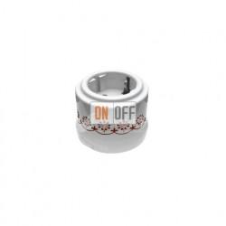 Розетка с заземлением со шторками 16А 250В~ Fontini Garby, белый пластик/коричневый декор 30204132