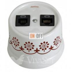 Розетка двойная телефонная, 6 контактов, Fontini Garby белый фарфор/коричневый декор 30706132