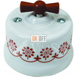 Выключатель поворотный 10А 250В~ Fontini Garby, белый фарфор/коричневый декор/ручка дерево мед 30306142
