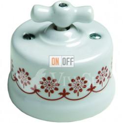 Светорегулятор 500Вт 250В~ для ламп накалив. и высоков. галогенн. , Fontini Garby белый фарфор/коричневый декор 30333132