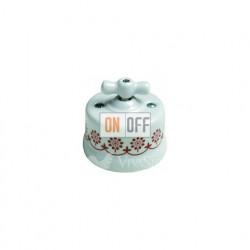 Выключатель поворотный перекрестный (c 3 мест) 10А 250В~ Fontini Garby, белый фарфор/коричневый декор 30304132