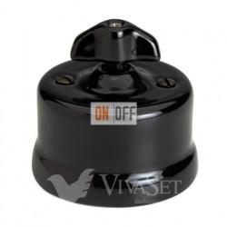 Выключатель поворотный перекрестный (c 3 мест) 10А 250В~ Fontini Garby, черный фарфор/ручка ретро 30304282