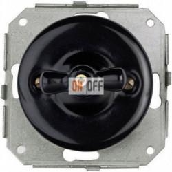 Выключатель 2-х клавишный поворотный 10 AX- 250 В, черный фарфор 31300272