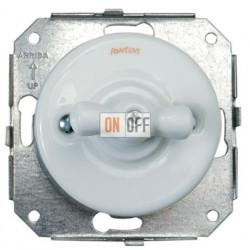 Выключатель 1 клавишный с 2-х мест поворотный 10AX,250В, белый фарфор 31308172