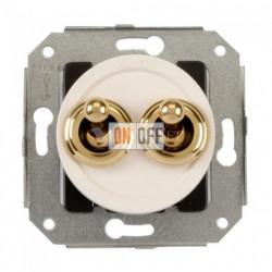 Двухклавишный выключатель, два тумблера 10А 250В~, белый с золотом 65300302