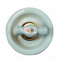 Выключатель 2 клавишный поворотный с 2-х мест, 10А 250В~, белый фарфор 35302172