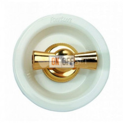 Выключатель 2 клавишный поворотный с 2-х мест, 10А 250В~, белый с золотом 35302302