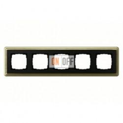 Рамка пятерная, для гориз./вертик. монтажа Gira Classix, бронза-черный 0215622