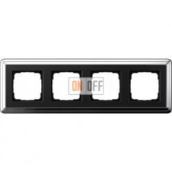 Рамка на 4 поста, вертикальная/горизонтальная, Gira Classix, хром-черный 0214642