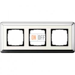 Рамка на 3 поста, вертикальная/горизонтальная, Gira Classix, хром-кремовый 0213643