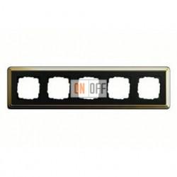 Рамка пятерная, для гориз./вертик. монтажа Gira Classix, латунь-черный 0215632