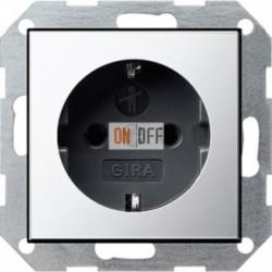 Розетка с заземляющими контактами 16 А / 250 В~ с защитой от детей и пиктограммой хром/черный 0453605