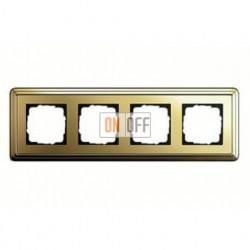 Рамка четверная, для гориз./вертик. монтажа Gira Classix, латунь 0214631