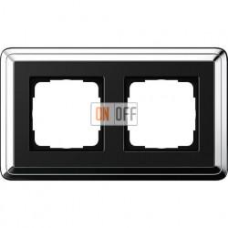 Рамка на 2 поста, вертикальная/горизонтальная, Gira Classix, хром-черный 0212642
