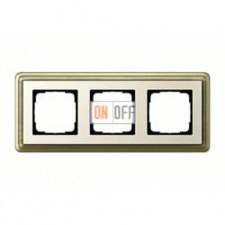 Рамка тройная, для гориз./вертик. монтажа Gira Classix, бронза-кремовый 0213623
