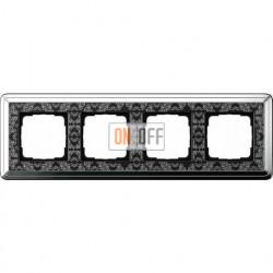Рамка на 4 поста, вертикальная/горизонтальная, Gira Classix Art, хром-черный 0214682