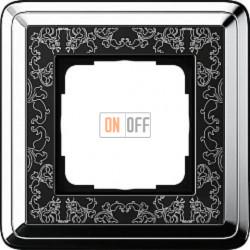 Рамка на 1 пост Gira Classix Art, хром-черный 0211682