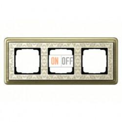 Рамка тройная, для гориз./вертик. монтажа Gira Classix Art, бронза-кремовый 0213663