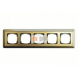 Рамка пятерная, для гориз./вертик. монтажа Gira Classix Art, латунь 0215671