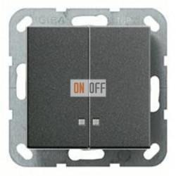 Выключатель двухклавишный с подсветкой, 10 А / 250 В~ 014500 - 063128