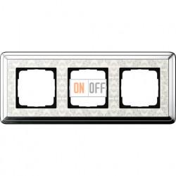 Рамка на 3 поста, вертикальная/горизонтальная, Gira Classix Art, хром-кремовый 0213683