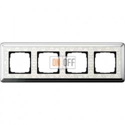 Рамка на 4 поста, вертикальная/горизонтальная, Gira Classix Art, хром-кремовый 0214683