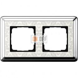 Рамка на 2 поста, вертикальная/горизонтальная, Gira Classix Art, хром-кремовый 0212683