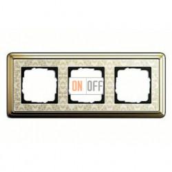Рамка тройная, для гориз./вертик. монтажа Gira Classix Art, латунь-кремовый 0213673