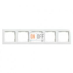 Рамка пятерная, для гориз./вертик. монтажа Gira E2, белый глянцевый 021529