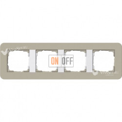Рамка четверная  Gira E3  серо-бежевый/белый глянцевый 0214418
