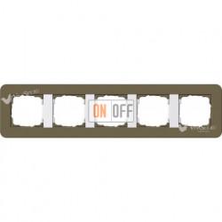 Рамка пятерная  Gira E3  дымчатый/белый глянцевый 0215416