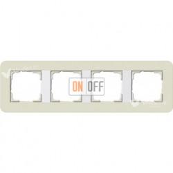 Рамка четверная  Gira E3  песочный/белый глянцевый 0214417