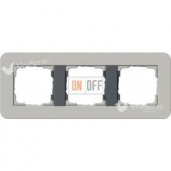 Рамка тройная  Gira E3  серый/антрацит 0213422