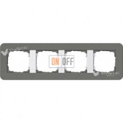 Рамка четверная  Gira E3 темно-серый/белый глянцевый 0214413