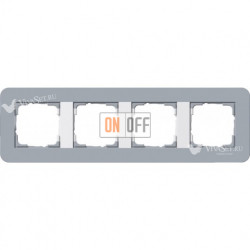 Рамка четверная  Gira E3 серо-голубой/белый глянцевый 0214414