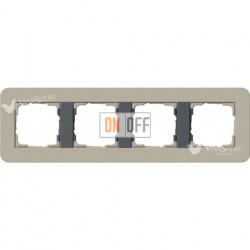 Рамка четверная  Gira E3  серо-бежевый/антрацит 0214428