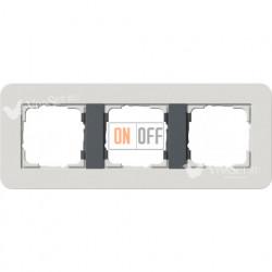 Рамка тройная  Gira E3  светло-серый/антрацит 0213421